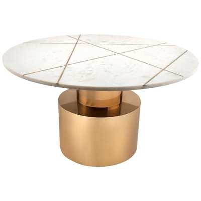Terzo White Geometric Marble Cocktail Table with Gold Base - Style # 64T40 - Lamps Plus