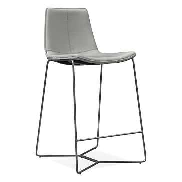 Slope Counter Stool, Leather, Cement, Charcoal - West Elm