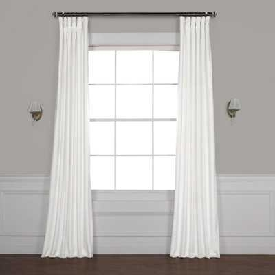 Exclusive Fabrics & Furnishings Pillow White Plush Velvet Curtain - 50 in. W x 96 in. L - Home Depot