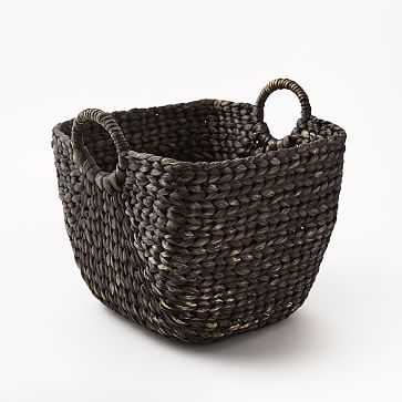 Large Curved Basket, Blackwashed - West Elm