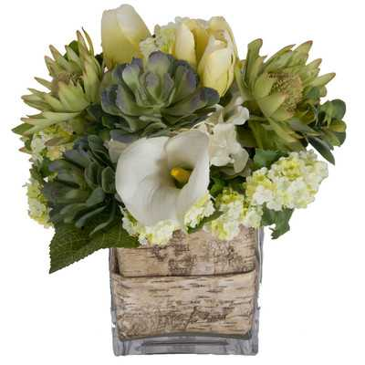 Faux White Flowers and Succulents in Decorative Vase - Birch Lane