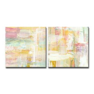 'Honey Peach Floral' Acrylic Painting Print Multi-Piece Image on Canvas - Wayfair