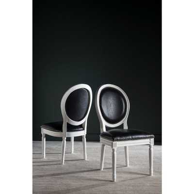 Holloway Oval Bicast Leather Chair in Black and Cream Finish (2-Pack), Black/Ivory - Home Depot