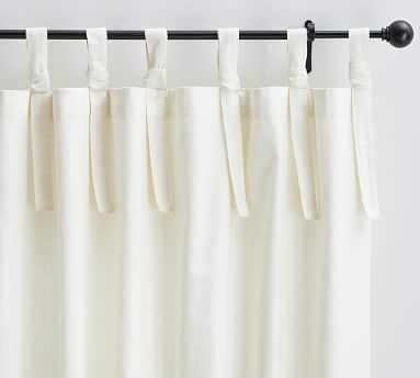"Textured Cotton Tie-Top Drape, 50 x 84"", Ivory - Pottery Barn"