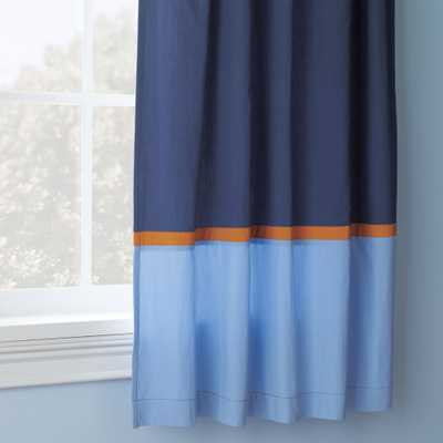 "Solar System 84"" Orange and Blue Curtain - Crate and Barrel"