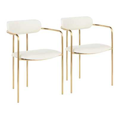 Lumisource Demi Gold and Cream Velvet Dining Chair (Set of 2), Ivory - Home Depot