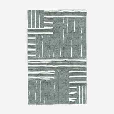 MTO Painted Mixed Stripes Rug, Blue Sage, 5x8 - West Elm