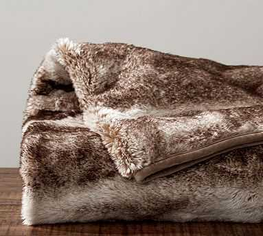 "Faux Fur Throw, 50 x 60"", Caramel Ombre - Pottery Barn"