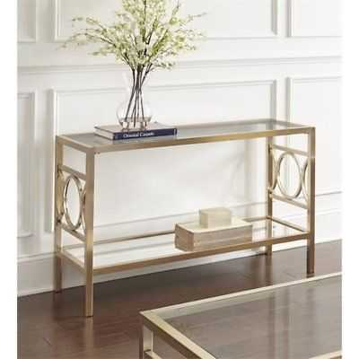 Steve Silver Olympia Glass Top Console Table in Gold Chrome - eBay