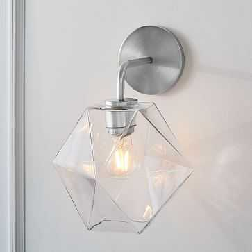 Sculptural Glass Sconce, Small Faceted, Clear Shade, Polished Chrome Canopy - West Elm