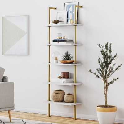 Nathan James Theo White 5-Shelf Ladder Bookcase with Gold Metal Frame, White/Gold - Home Depot
