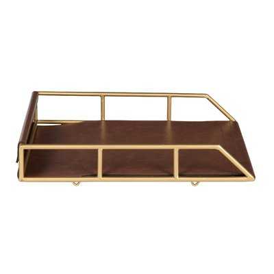 Holtman Stacked Metal and Faux Leather Letter Trays - Wayfair