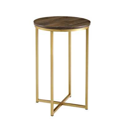 16 Round Side Table Dark Walnut/Gold - Saracina Home - Target