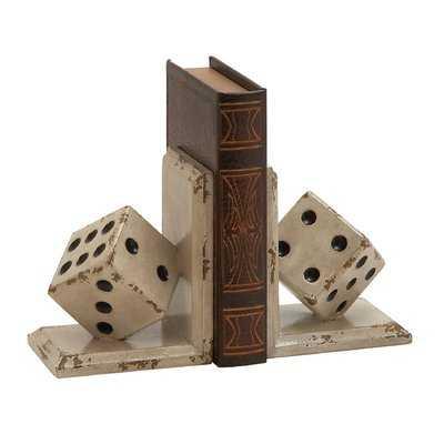 Wooden Dice Book Ends - Birch Lane