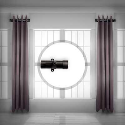 Rod Desyne 1.5 inch Side Single curtain rod Adjustable 12-20 inch long (Set of 2) - Black - Home Depot