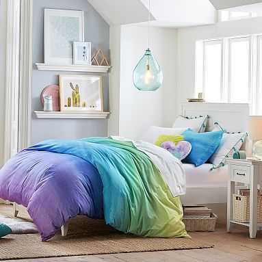 Organic Watercolor Rainbow Duvet Cover, Full/Queen, Cool Multi - Pottery Barn Teen