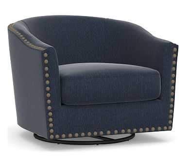 Harlow Upholstered Swivel Armchair, Polyester Wrapped Cushions, Sunbrella(R) Performance Chenille Indigo - Pottery Barn