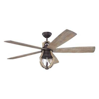 """56"""" Tollison 5 Blade Ceiling Fan with Remote, Light Kit Included - Birch Lane"""
