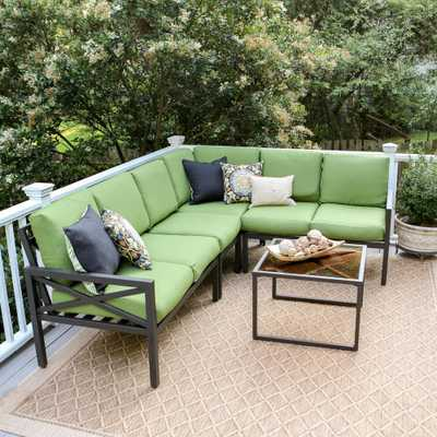 Leisure Made Blakely Black 5-Piece Aluminum Outdoor Sectional with Green Cushions - Home Depot