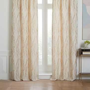 "Bark Texture Jacquard Curtain, Gold, 48""x96"" - West Elm"