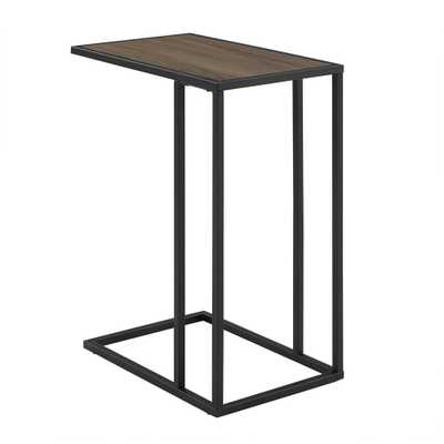 20 in. Mocha Urban Industrial Modern Contemporary Transitional Asymmetrical Side Accent Table Nightstand, Brown/Black - Home Depot