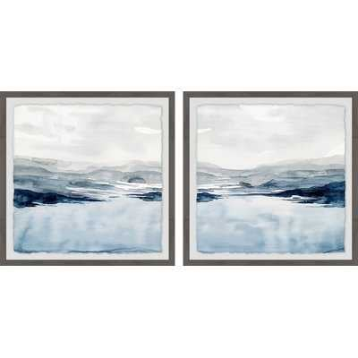 'Faded Horizon III Diptych' 2 Piece Framed Watercolor Painting Print Set - Wayfair