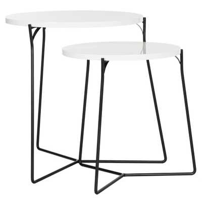 Ryne White and Black 2-Piece Nesting End Table, White/Black - Home Depot