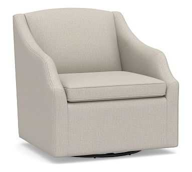 SoMa Emma Upholstered Swivel Armchair, Polyester Wrapped Cushions, Performance Heathered Tweed Pebble - Pottery Barn