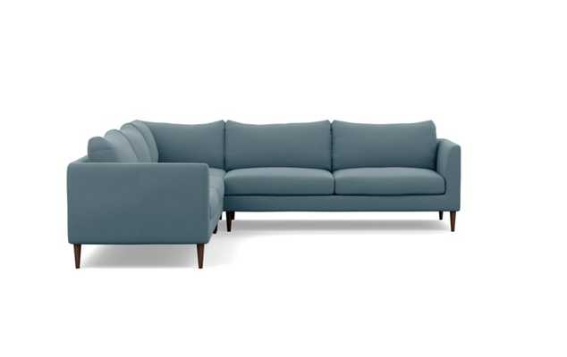 Owens Corner Sectional with Slate Fabric and Oiled Walnut legs - Interior Define