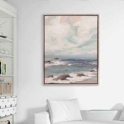 Stormy Shore Coastal Framed Canvas Wall Art, Beige - Home Depot