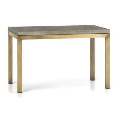 Parsons Concrete Top/ Brass Base 48x28 Dining Table - Crate and Barrel