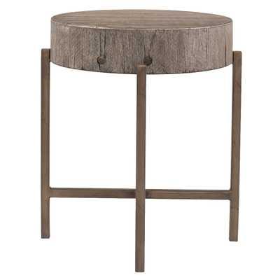 David Modern Copper Metal Leg Distressed Grey Round Hardwood Side End Table - Kathy Kuo Home