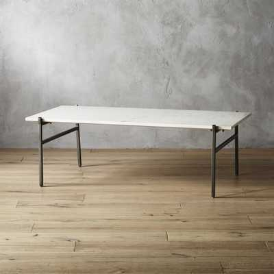 Large Slab Marble Coffee Table with Antiqued Silver Base - CB2