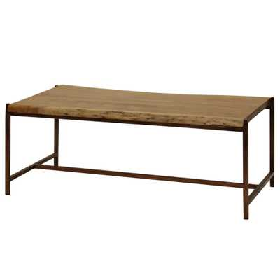StyleCraft Natural Stain Solid Acacia Wood Live Edge Coffee Table, Antique Bronze - Home Depot