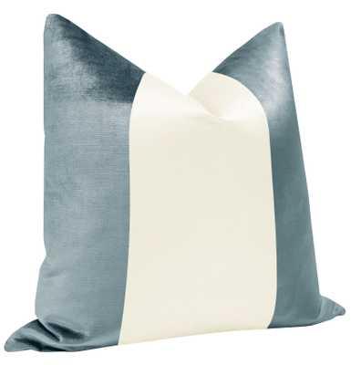 "PANEL Colorblock :: Faux Silk Velvet // Cerulean Blue + Alabaster Silk - 18"" X 18"" - Little Design Company"