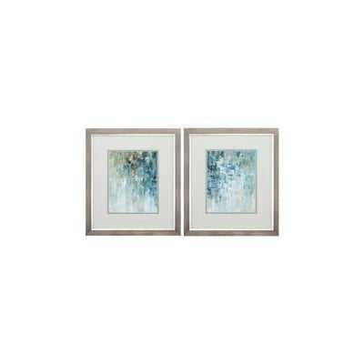 'Blue' 2 Piece Framed Graphic Art Print Set - Wayfair
