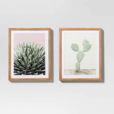 "Framed Cactus Wall Print 2pk White/Green 20""x16"" - Project 62 - Target"