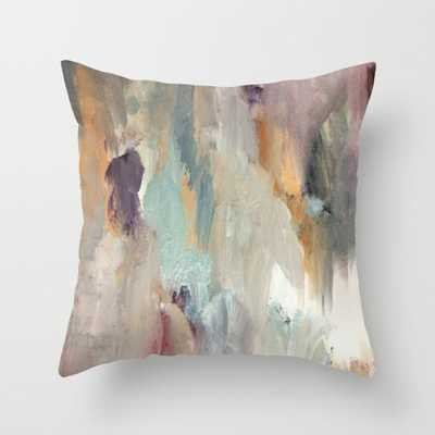 "Gentle Beauty [4] - an elegant acrylic piece in deep purple, red, gold, and white Throw Pillow - Indoor Cover (20"" x 20"") with pillow insert by - Society6"