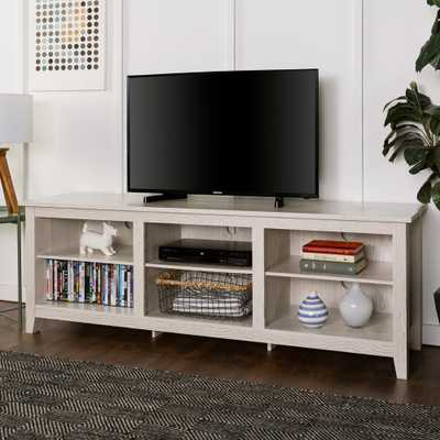 70 in. Wood Media TV Stand Storage Console - White Wash - Home Depot