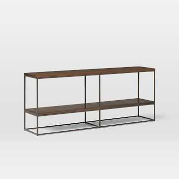 "Streamline Bookshelf, 60"", Dark Walnut, Antique Bronze - West Elm"