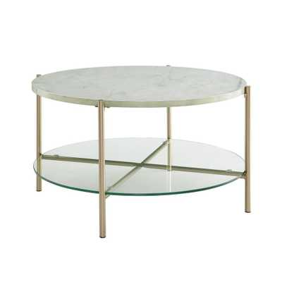 32 Round Coffee Table White Marble/Gold Legs - Saracina Home, White Faux Marble/Gold - Target