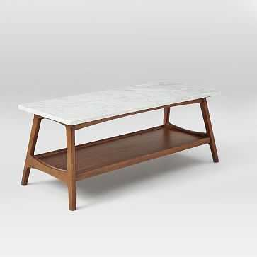 Reeve Mid-Century Coffee Table Rectangle , Marble/Walnut - West Elm