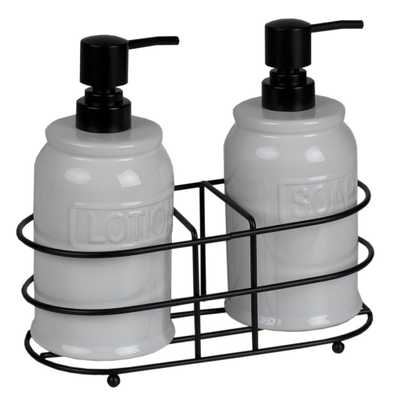 HDS TRADING CORP. Embossed Glazed Ceramic Soap Dispenser with Dual Compartment Metal Rack in White (2-Pack) - Home Depot