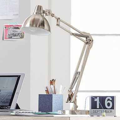 Shine-On Task Lamp + CFL Bulb, Brushed Nickel - Pottery Barn Teen