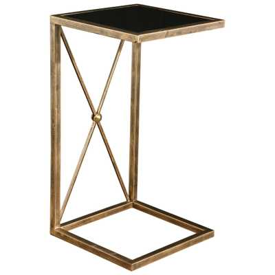 Lexington Modern Classic Antique Gold Black Glass Side Table - Kathy Kuo Home