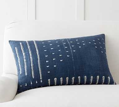 "Shibori Embroidered Lumbar Pillow Cover, 16x26"", Indigo - Pottery Barn"