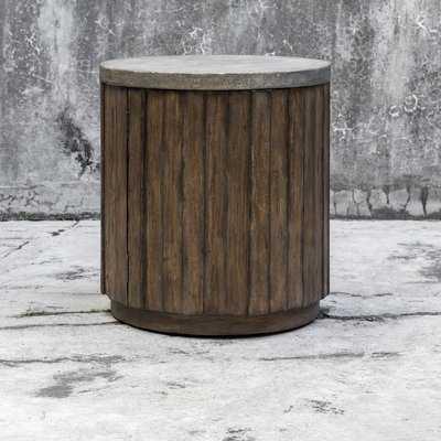 Florentine Wooden Drum End Table - Wayfair