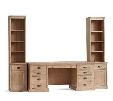 Lucca Small Office Suite with Cabinets, Salvaged Pine - Pottery Barn