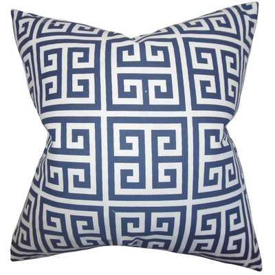 "Paros Greek Key Pillow Navy Blue-12''x 18""- Poly Insert included - Linen & Seam"