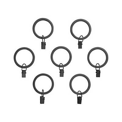 Set of 7 Black Curtain Rings - Crate and Barrel